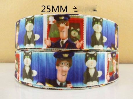 1 METRE OF POSTMAN PAT RIBBON SIZE 1 INCH HEADBANDS BOWS CARD MAKING HAIR CLIPS